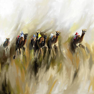 Painting - Camel Race 1 667 1 by Mawra Tahreem