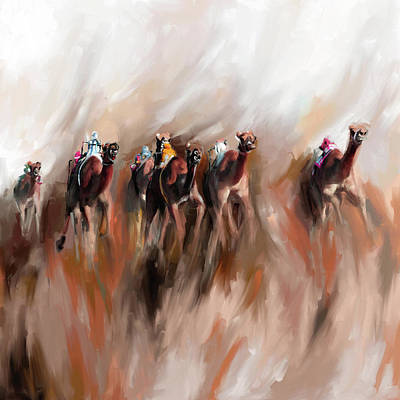 Painting - Camel Race 1 667 2 by Mawra Tahreem