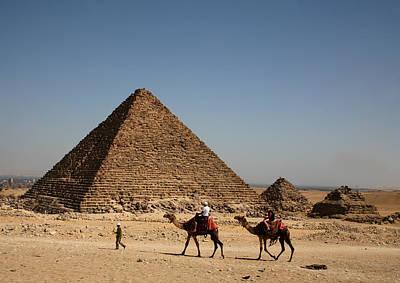 Camel Ride At The Pyramids Art Print