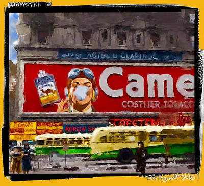 Painting - Camel Sign On Broadway  by Ted Azriel