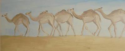 Camel Train Art Print by Wendy Peat