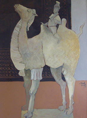 Painting - Camel With Rider by Thomas Tribby