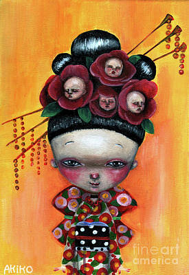 Painting - Camellia And Friends by Akiko Okabe