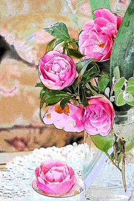 Photograph - Camellia Bouquet Watercolor by Joyce Dickens