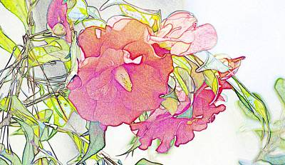 Camellia Color Pencil Art Print