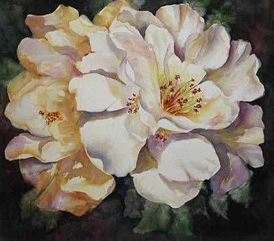Camellias Golden Glow Art Print