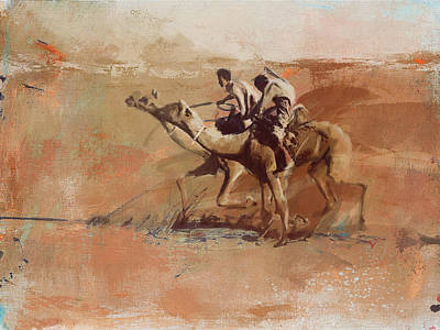 Painting - Camels And Desert 11 by Mahnoor shah