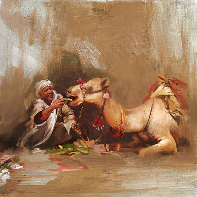 Khalifa Painting - Camels And Desert 13 by Mahnoor Shah