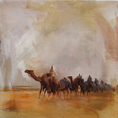 Khalifa Painting - Camels And Desert 15 by Mahnoor Shah