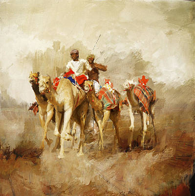 Sahara Painting - Camels And Desert 19 by  Mahnoor Shah