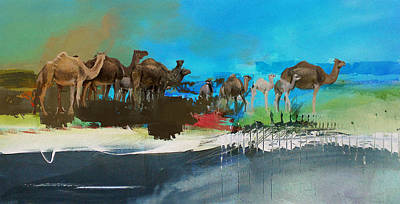 Painting - Camels And Desert 1b by Mano