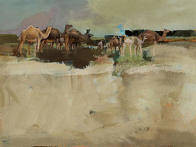 Sahara Painting - Camels And Desert 1c by Mano