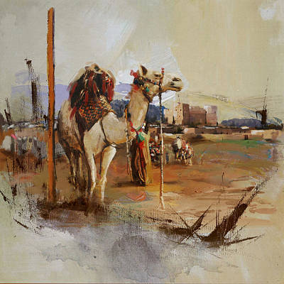 Khalifa Painting - Camels And Desert 25 by Mahnoor Shah