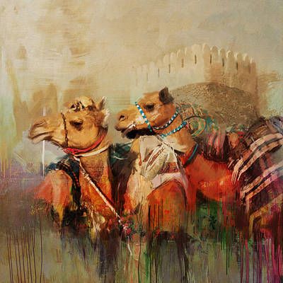 Sahara Painting - Camels And Desert 28 by Mahnoor Shah