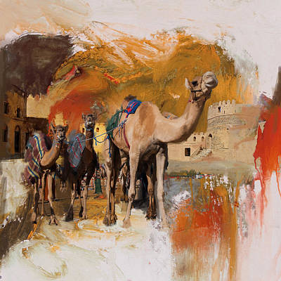 Sahara Painting - Camels And Desert 29 by Mahnoor Shah