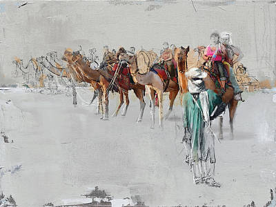 Khalifa Painting - Camels And Desert 2b by Mahnoor Shah