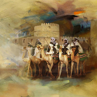 Khalifa Painting - Camels And Desert 34 by Mahnoor Shah