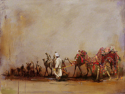 Khalifa Painting - Camels And Desert 3b by Mahnoor Shah