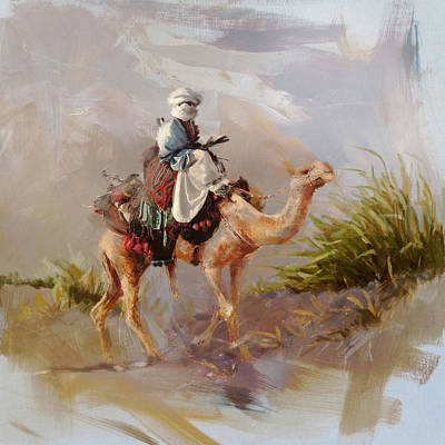 Painting - Camels And Desert 6 by Mahnoor Shah