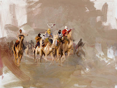 Painting - Camels And Desert 8 by Mahnoor Shah