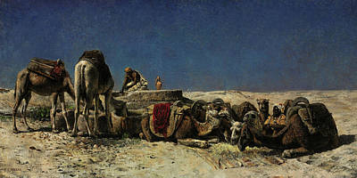 Painting - Camels Beside A Cistern by Edwin Lord Weeks