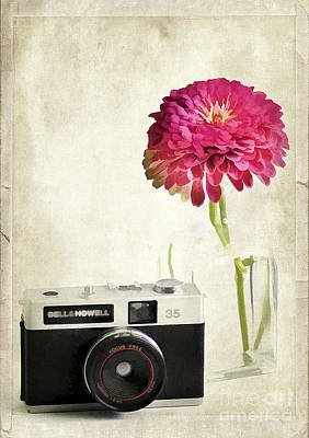 Camera And Flowers Art Print by Darren Fisher