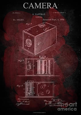 Vintage Camera Mixed Media - Camera - G.eastman Kodak. Patent 1888  -part 1  -red. by Prar Kulasekara