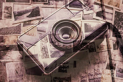 Camera Of A Vintage Double Exposure Art Print