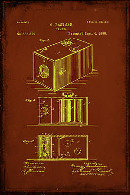 Vintage Camera Mixed Media - Camera Patent Drawing 1a by Brian Reaves