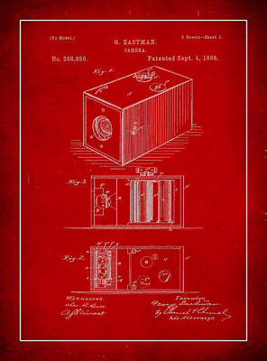 Vintage Camera Mixed Media - Camera Patent Drawing 1b by Brian Reaves