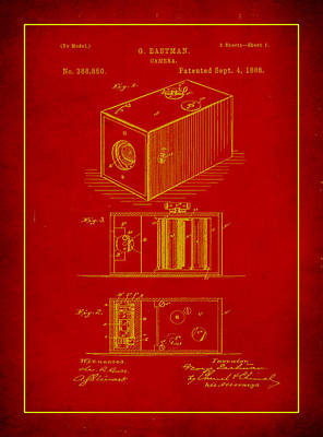 Vintage Camera Mixed Media - Camera Patent Drawing 1c by Brian Reaves
