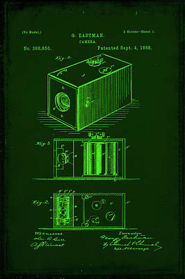 Vintage Camera Mixed Media - Camera Patent Drawing 1e by Brian Reaves