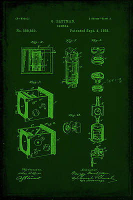 Vintage Camera Mixed Media - Camera Patent Drawing 2b by Brian Reaves