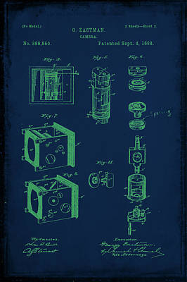 Vintage Camera Mixed Media - Camera Patent Drawing 2c by Brian Reaves