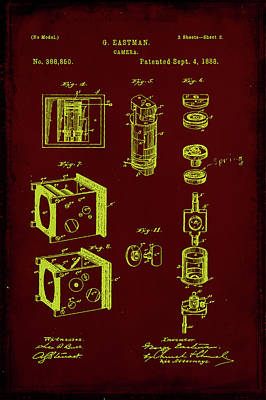 35mm Mixed Media - Camera Patent Drawing 2d by Brian Reaves