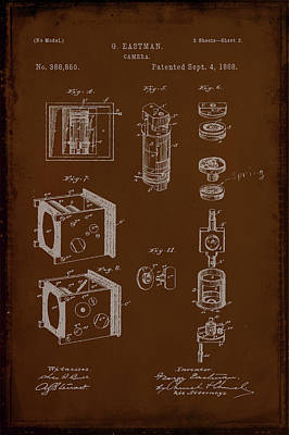 Vintage Camera Mixed Media - Camera Patent Drawing 2e by Brian Reaves