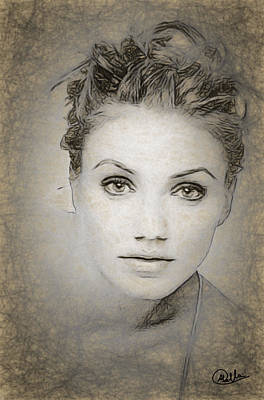 Cameron Diaz Drawing Art Print by Quim Abella