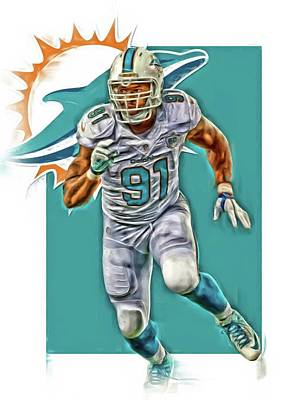 Dolphin Mixed Media - Cameron Wake Miami Dolphins Oil Art by Joe Hamilton