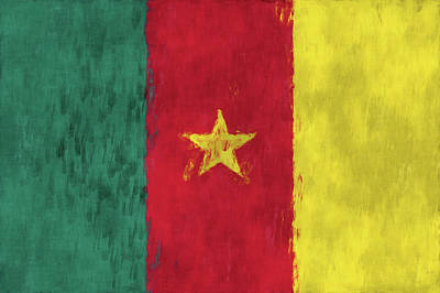 West Africa Digital Art - Cameroon Flag by World Art Prints And Designs