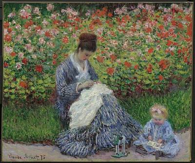 Monet Painting - Camille Monet And A Child In The Garden In Argenteuil by MotionAge Designs