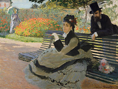 Painting - Camille Monet On A Bench by Claude Monet