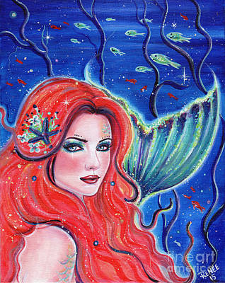 Mermaid Tail Painting - Camillia by Renee Lavoie