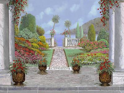 Columns Painting - Camminando Verso Il Lago by Guido Borelli
