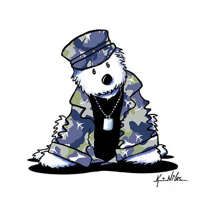 Camouflage Drawing - Camo Westie by Kim Niles