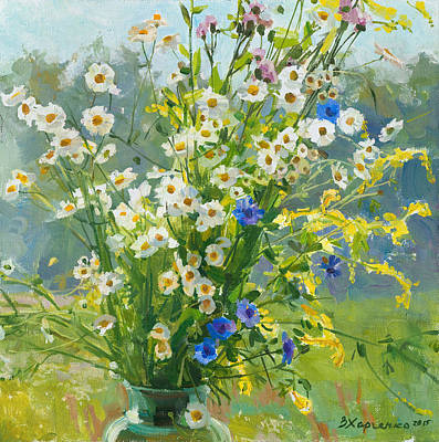 Victoria Painting - Camomiles In The Sun by Victoria Kharchenko