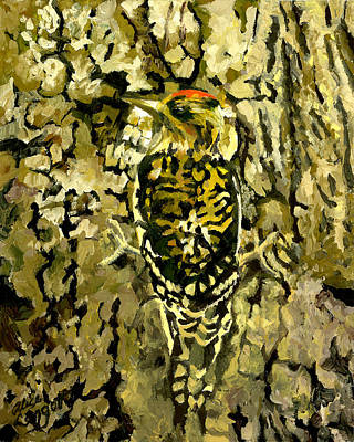 Woodpecker Painting - Camouflage by Alice Leggett