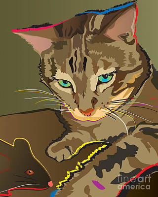 Painting - Camouflage Bengal Cat by Robyn Saunders