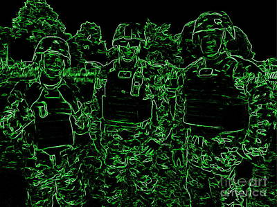 Digital Art - Camouflage Soldiers by Ed Weidman