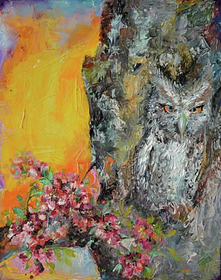 Sakura Painting - Camouflaged Owl And Spring Cherry Flowers - Modern Original Oil Painting by Soos Roxana Gabriela