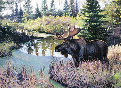 Painting - Camp 20 Creek Moose by Larry Seiler